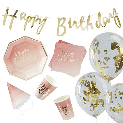 Foiled Pink Ombre & Gold Birthday Party in a Box - 16 pieces -