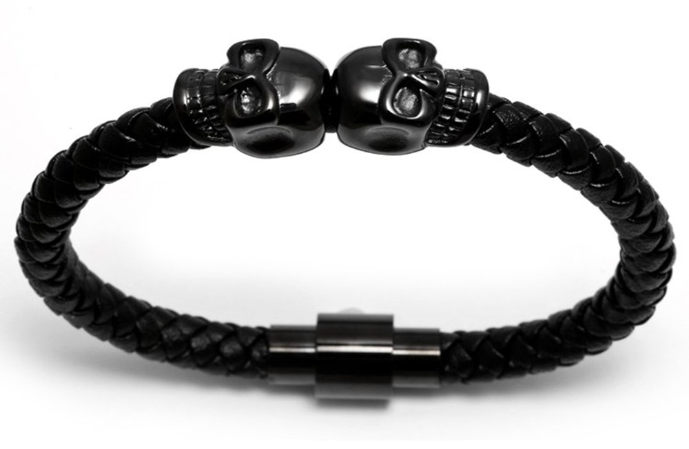 Meangel Braided Leather Bracelet for Men Stainless Steel Twin Skull Bangle Magnetic-Clasp 8.2 Inch by Meangel (Image #3)