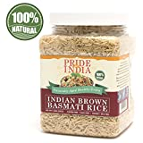 Pride Of India - Grain Jars (Indian Brown Extra Long Basmati Rice, 1.5 Pound Jar)