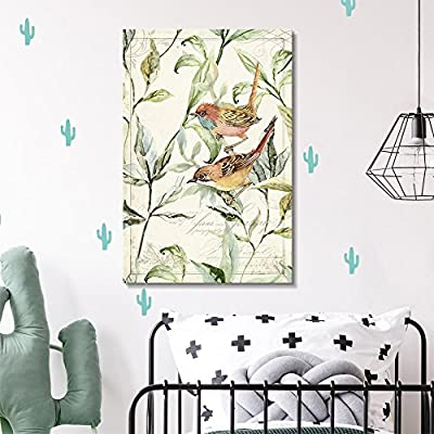 Canvas Wall Art - Vintage Style Bird on The Plants Floral Background - Giclee Print Gallery Wrap Modern Home Art Ready to Hang - 12x18 inches