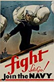 Laminated Fight Let's Go Join the Navy WWII War Propaganda Art Print 24 x 36in