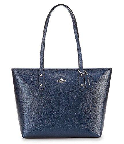 Coach City Zip Tote Leather Metallic Midnight Blue