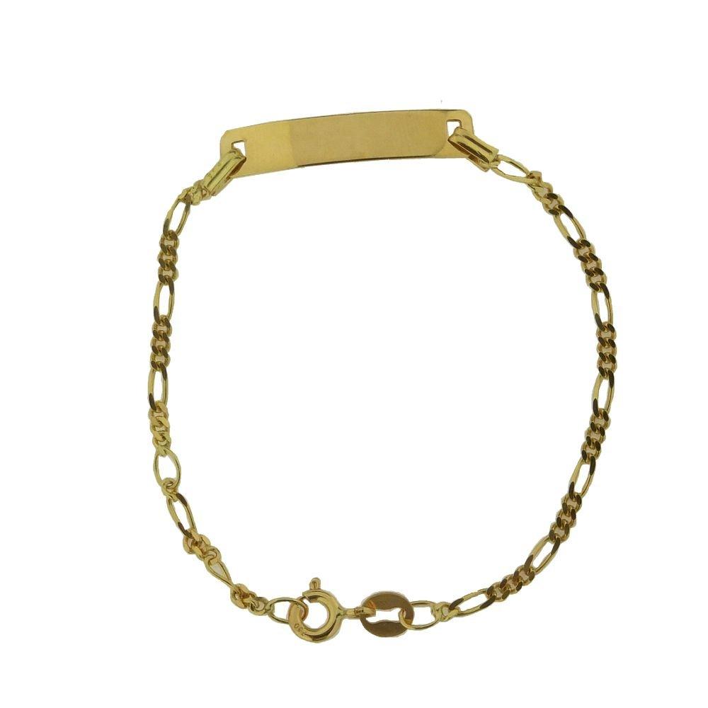 18K Yellow Gold Figaro ID Bracelet 6 inch