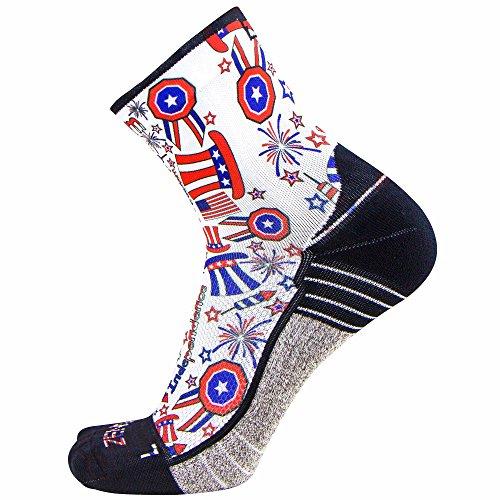 Zensah Limited Edition Running Socks – Anti-Blister Comfortable Mini-Crew Sport Socks, Moisture Wicking (Large, Independence Doodle-White)