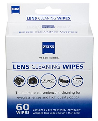 Zeiss Pre-Moistened Lens Cleaning Wipes, 6 x 5-Inches, 60 - Sunglass Zeiss Lenses