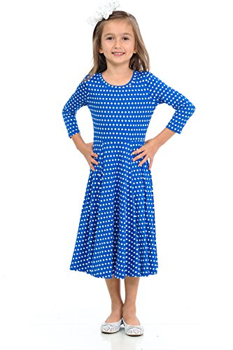 Honey Vanilla Girls' Princess Seam A-Line Dress with Full Skirt Small 5-6 Years Polka Dot Royal Blue -