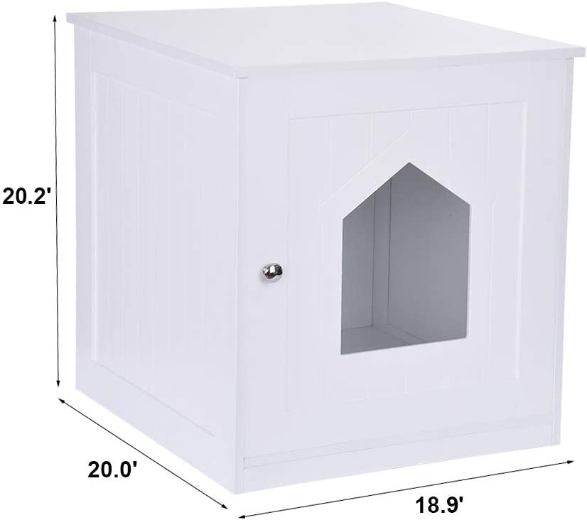 Decorative Cats Litter Box Enclosure,Washroom Storage Bench Furniture End Table Indoor Pet Crate,Nightstand Pet Hidden Litters Furniture Unine Cat House Side Table