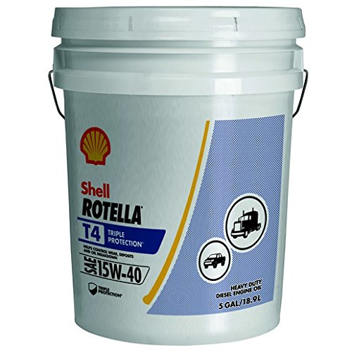 Diesel Fuel Oil Motor (Shell Rotella T ROTELLA 550045128 T4 Triple Protection Motor Diesel Oil (15W-40 Pail CK-4), 5 Gallon)