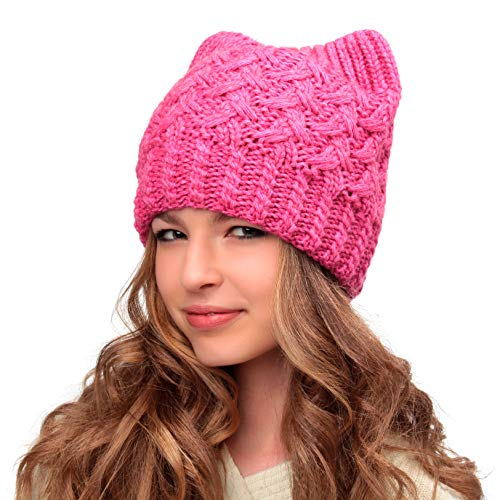 Hats&Cats Pink Pussy Cat Hat-Handmade Beanie Hat-Winter Hat for Women- Cat Ears Hat for Girls