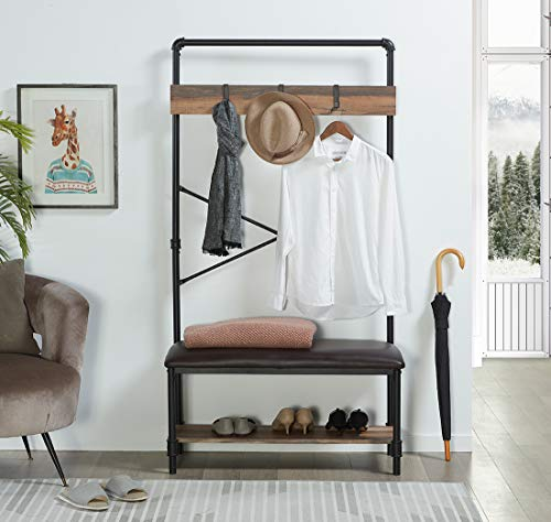 Homissue Industrial Pipe Hall Tree with Storage Bench, 2 Shelf Shoe Rack with 3 Hooks for Entryway and Hallway, Shoe Bench with Cushion, Retro Brown - Industrial Pipe Design: constructed with metal pipe frame and MDF board, add this sturdy hall tree to the entryway or hallway to complement a farmhouse aesthetic. It features padded upholstery for the seat that provides you with more comfort, a row of three hooks give you space to hang up coats, hats or other out-the-door essentials. The open shelf at the bottom that has ample space to hold several pairs of shoes, other footwear or any necessary things. A elegant addition to your entry, mudroom, office or apartment. - hall-trees, entryway-furniture-decor, entryway-laundry-room - 51yPLXh R7L -