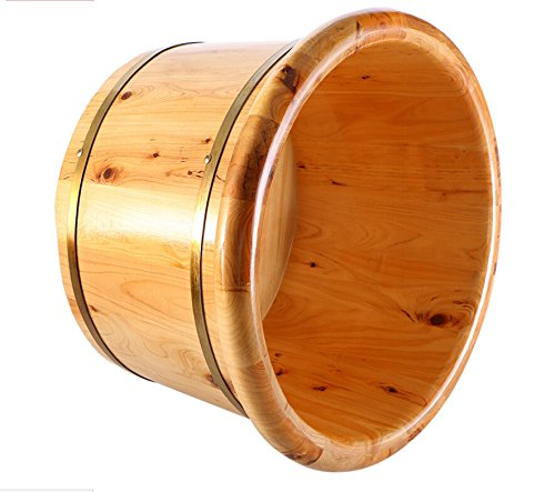 Zabrina Cedar Wood Foot Soak Tub Soaking Basin Tub for Foot Massage Spa Sauna Bath Nature Hydro Massage