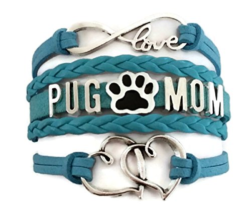 Kit's Kiss Pug Mom Bracelet, Pug Mom Jewelry, Pets Bracelet, Dog Paw Print Charm, Gift mom, Mom Bracelet, Mom Jewelry, Love Infinity Bracelet, Leather Bracelet (Blue)