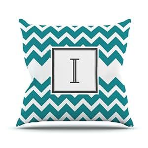 "Kess InHouse KESS Original ""Monogram Chevron Teal Letter I"" Outdoor Throw Pillow, 16 by 16-Inch"