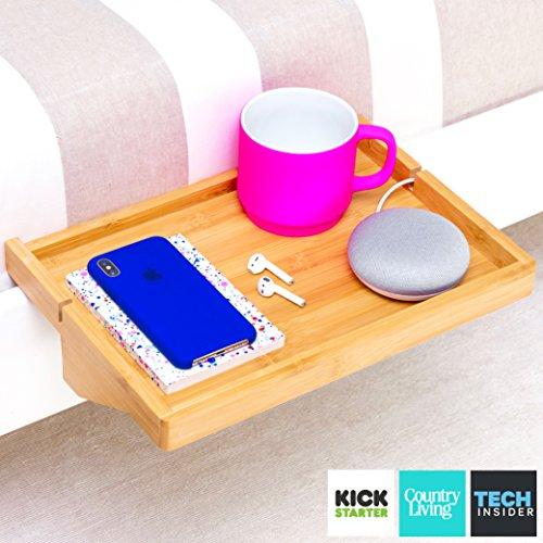 BedShelfie - 3 Colors, The Original Bamboo Bedside Shelf with LARGE 2.25 inch Clamp, AS SEEN ON Business Insider & Kickstarter (Natural - On Frames Clip