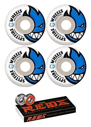 Spitfire Wheels 51mm Bighead Skateboard Wheels with Bones Bearings - 8mm Bones Reds Precision Skate Rated Skateboard Bearings - Bundle of 2 Items