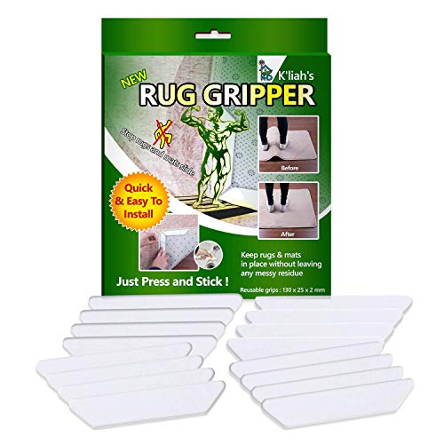 K'LIAH Rug Grippers For Hardwood Floors - Anti Curling Rug Gripper, Non Slip Rug Pad - Non Skid Rug Pads Tape - Keep Your Rugs In Place & Make Corners Flat - Carpet Tape For Area Rugs, Set Of 16 Pcs