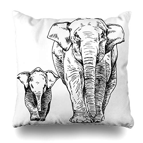 DIYCow Throw Pillow Cover Pillowcase Mother Outline Sketch Elephant Calf Graphic Nature Asia Baby Thailand Hand Child Fauna Home Decor Design Square Size 18