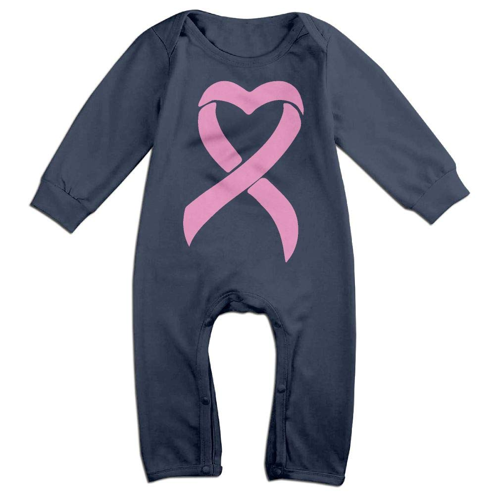 Mri-le1 Baby Girl Organic Coverall Breast Cancer Ribbon Baby Rompers