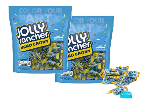 Raspberry Ranchers Jolly Blue (Jolly Rancher Hard Candy Blue Raspberry Flavor - 12.4 oz per Bag - About 60 Pieces Color Your Party (2 Pack))