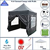 DELTA Canopies – 8'X8′ Pop up 4 Wall Canopy Party Tent Gazebo EZ Black Review
