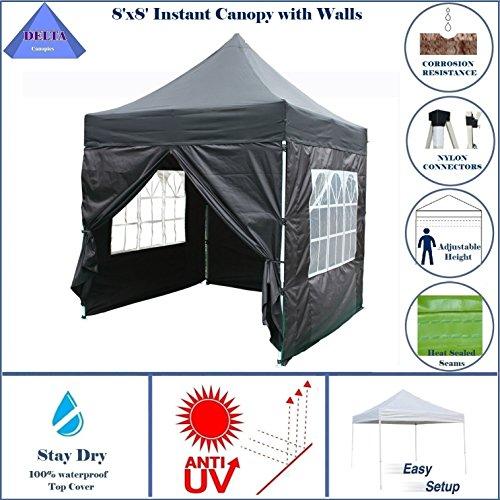 DELTA Canopies - 8'X8' Pop up 4 Wall Canopy Party Tent Gazebo EZ Black