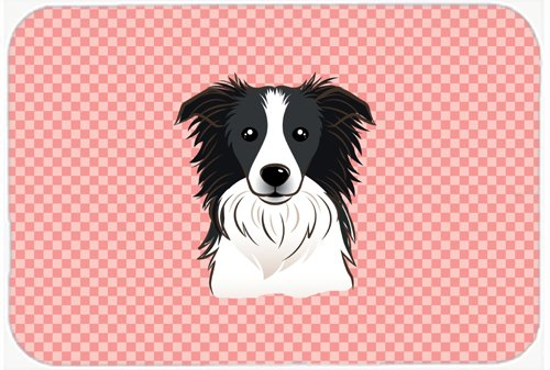 Caroline's Treasures BB1241MP Checkerboard Pink Border Collie Mouse Pad, Hot Pad or Trivet, Large, Multicolor