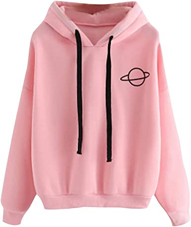 JUDI Women Fashion Winter Hooded Sweatshirt Solid Color O Neck Long Sleeve Pullover Tops Simple Print Sweater Shirt