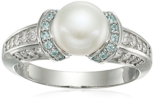 Platinum Plated Sterling Silver Freshwater Pearl with Frosty Mint Swarovski Zirconia Accents Ring, Size ()