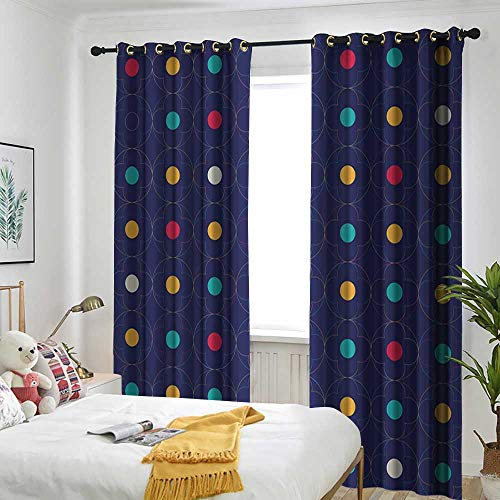 TRTK Bedroom Curtains The Shade Room darkens The bedroom's Insulated Curtain Ring Quatrefoil,Colorful Clover Flower in Connecting Circles Abstract Lattice with Artistic -