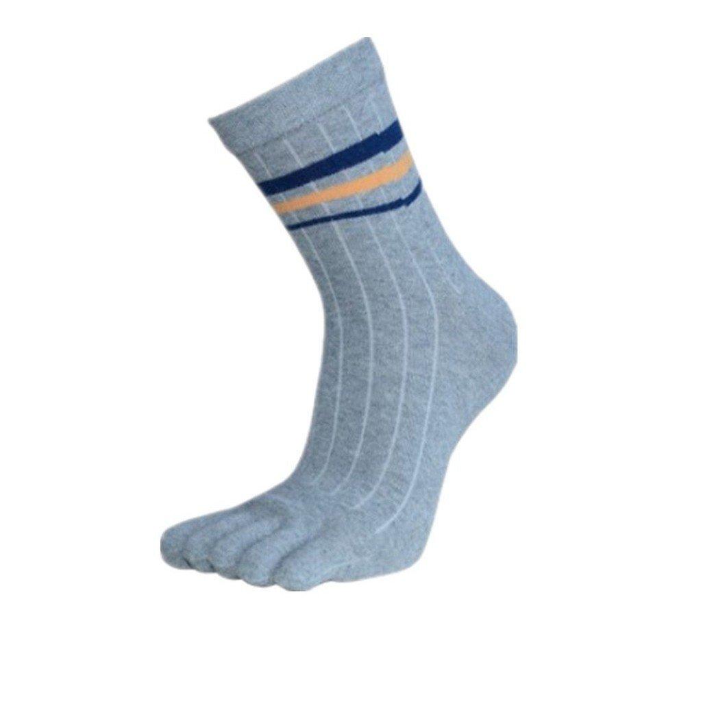 Calcetines para hombre Auxma Atléticos del algodón del Mens Media Tubo corrientes de los deportes de los cinco dedos calcetines del dedo del pie del tobillo (Gris)