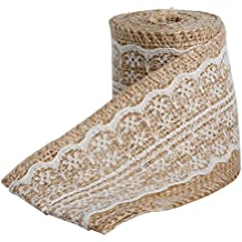 MEXUD Jute Burlap Natural Hessian Ribbon With Lace Trim Edge Wedding Decor Vintage (Beige)