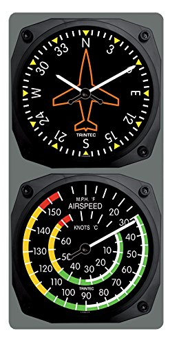 (Trintec Classic Aircraft Directional Gyro Clock /Airspeed Thermometer (F) Combo)