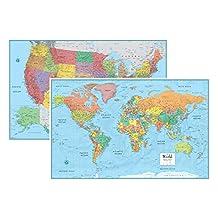 Rand McNally Signature United States USA and World Wall Map Set (Laminated Rolled)