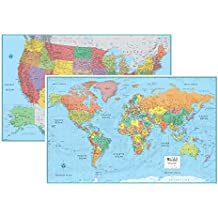 RMC Signature United States USA and World Wall Map Set (Laminated Rolled)