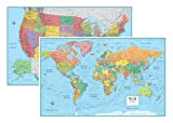 #7: RMC Signature United States USA and World Wall Map Set (Laminated Rolled)