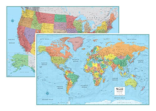 - RMC Signature United States USA and World Wall Map Set (Laminated Rolled)