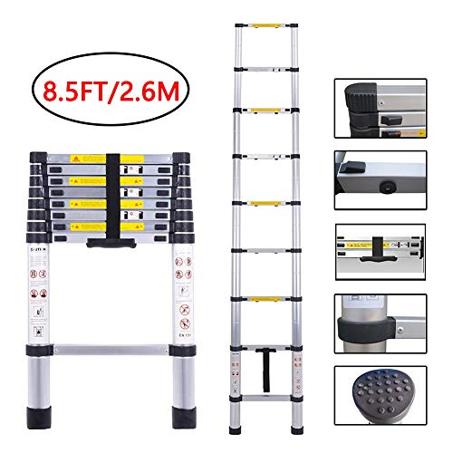 Folding Ladder Aluminum Telescopic Extension Ladders EN131 Standard with Spring Loaded Locking Mechanism(2.6M/8.5Ft)