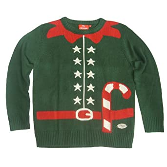 Ugly Christmas Sweater Crazy Elf Outfit Green at Amazon Men's ...