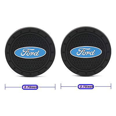 2.8 Inch Cup Holder Coaster for Ford, 2PCS Durable Car Interior Accessories Anti Slip Silicone Logo Cup Holder Mat for Ford All Models (for Ford): Automotive