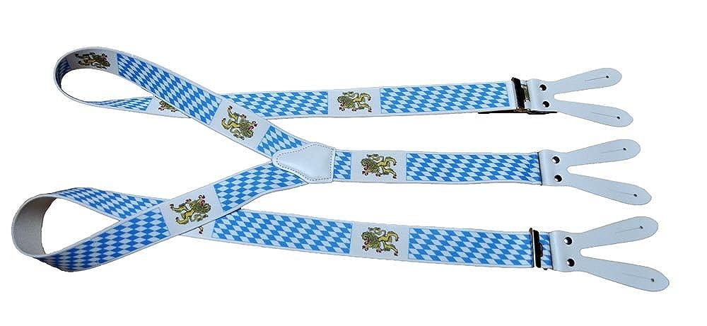 Trachtenhosenträger Hosenträger Edelweiss blau/weiß für Knöpfe Blau/weiß Knöpfe