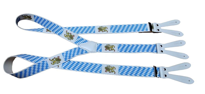 Trachtenhosenträger Hosenträger Edelweiss blau/weiß für Knöpfe