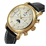 Fanmis Men's Automatic Mechanical Moon Phase Calendar Watch Black Leather Strap Gold & White