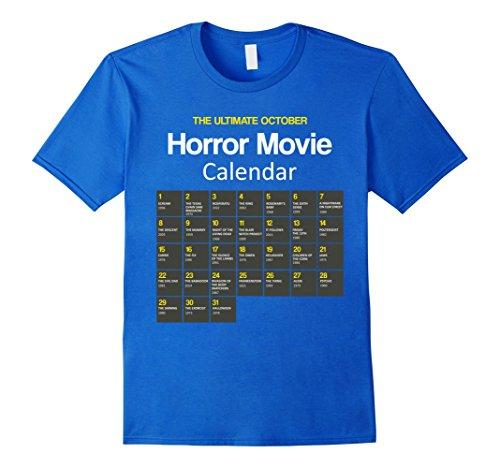 Mens The ultimate october Horror movie calendar halloween tshirt Medium Royal Blue