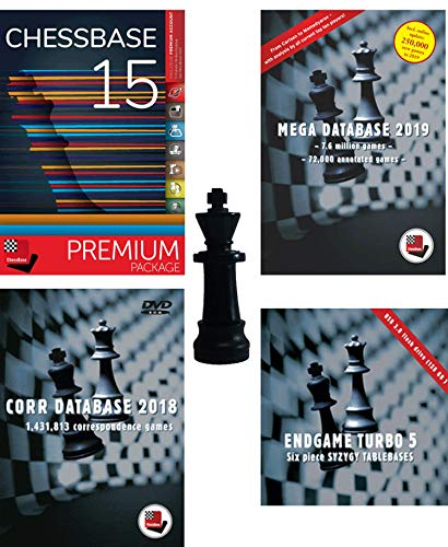 ChessBase 15 Premium Package, Includes ChessBase 15 Chess Database Management Software Program Bundled With Mega Database 2019, Endgame Turbo 5, Corr 2018 and ChessCentral's Chess King Flash Drive