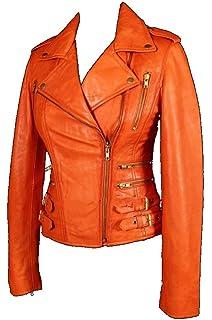 MYSTIQUE Ladies Orange Biker Motorcycle Style Designer Nappa Leather Jacket 7113