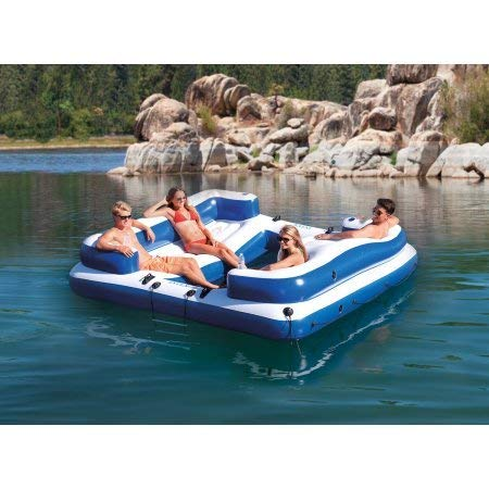 Intex Oasis Island Inflatable 5-Seater Lake/River Floating Lounge Raft with Repair patch kit and anchor bag
