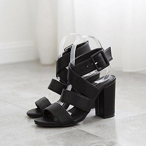 LvYuan-mxx Sandalias de las mujeres / Verano retro Roma / Chunky Heel / ronda abrir dedo del pie / Oficina y Carrera / Vestido / Casual / Hebilla / Hollow-out , 40 , deep brown 37-BLACK
