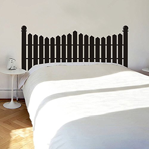 MairGwall Headboard Wall Decal Picket Fence Wall Sticker Bed Vinyl £¨NOT Real Headboard (Black, ()