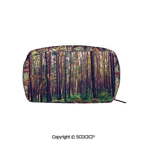 Rectangle Beauty Girl And Women Cosmetic Bags Forest in the Morning Light Tall Trees Trunks Greenery Natural Environment Picture Printed Storage Bags for Girls Travel