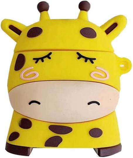 ICI-Rencontrer 3D Vivid Distinctive Yellow Sleeping Giraffe Cartoon Animal Design Airpods Case Kids Girls Women Cute Wireless Charging Earphone Accessories Soft Silicone Shockproof Protector Hook